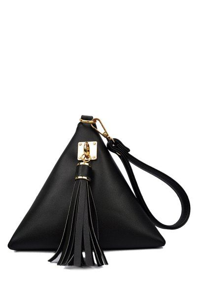 Solid Color Triangle Shape Tassel Clutch Bag BLACK: Bags | ZAFUL