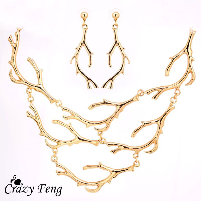 Free Shipping Engagement Jewelry Sets Women Newfangled Tree Design 18K Gold Plated Necklace Earrings Jewelry Sets Gift For Women