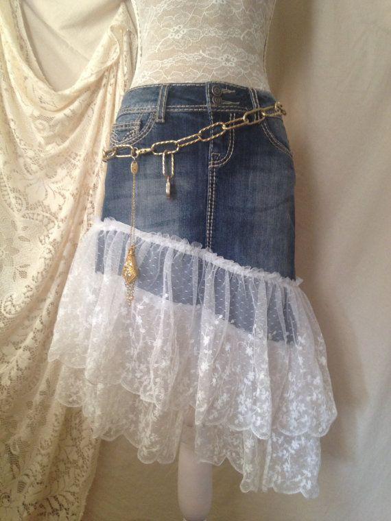 784323edb6 Bride Lace Jean Skirt, Upcycled Jean Skirt, Denim Skirt, Western Wedding on  Etsy, $68.00