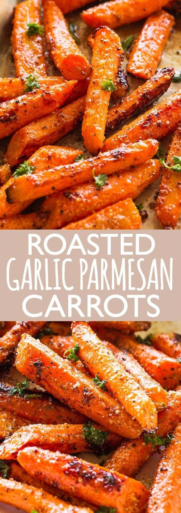 Roasted Garlic Parmesan Carrots - An easy, family favorite roasted carrots recipe tossed with the most flavorful garlicky and buttery parmesan cheese coating. The carrots come out sweet, tender and really delicious.