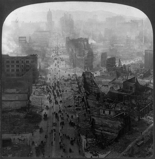 The San Francisco earthquake of 1906 view of Market street,...