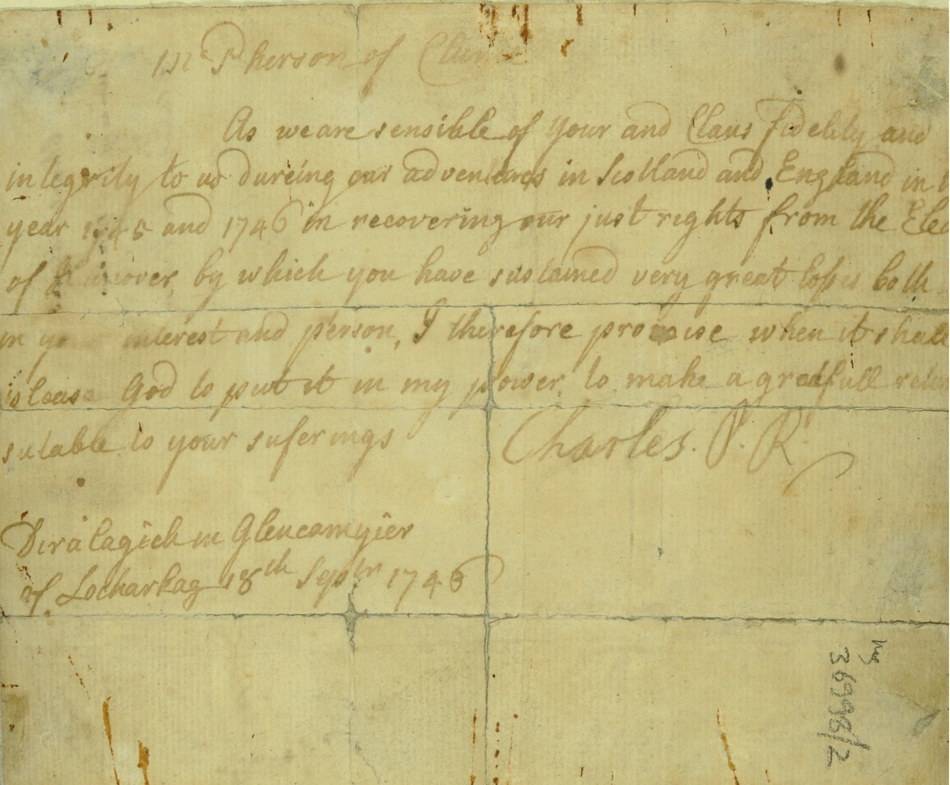 Document with signature of Bonnie Prince Charlie