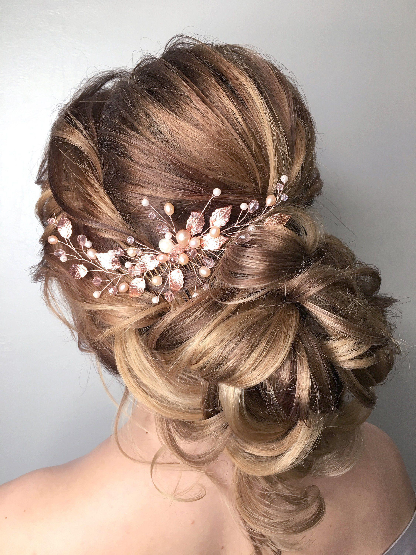 Bridal hair comb Pearl wedding comb Leaf hair comb Pearl crystal hair comb Prom hair piece Gold wedding comb twigs Crystal hair piece