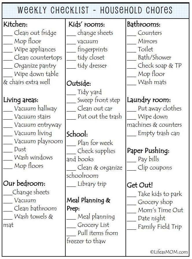 Weekly Cleaning Checklist printable I do love a list and - weekly checklist