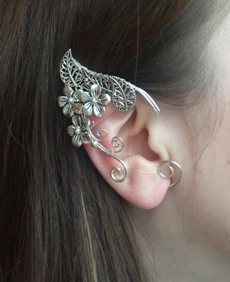 Elven Ears A Pair Earcuffs Elf Ears Cosplay Fantasy Decoration For Ears Elven Ear Ear Cuff Elvish Earring Elf Ear In 2020 Ear Jewelry Fantasy Jewelry Jewelry