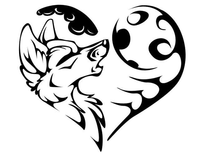 Modèle de tatouage avec un motif de coeur avec une tête de loup sur la moitié.