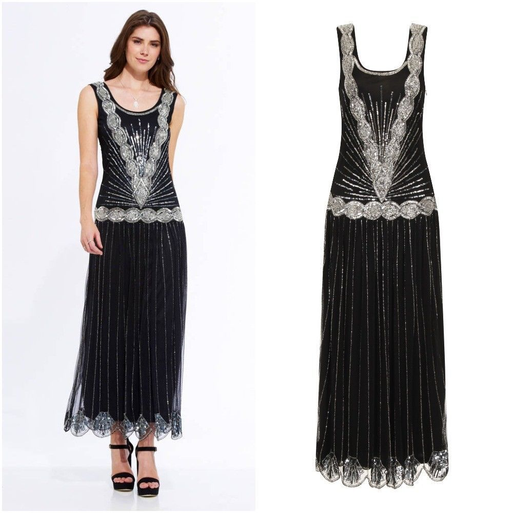 Black Sparkly 1920s Gatsby Cocktail Gown Evening Dress Embellished Long Maxi 10 Clothes Shoes Accessories Women S Dresses Frock And Frill Evening Dresses [ 1000 x 1000 Pixel ]
