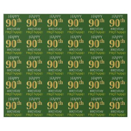Green Faux Gold HAPPY 90th BIRTHDAY Wrapping Paper