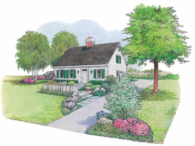 Eplans Landscape Plan Cape Cod Cottage From House