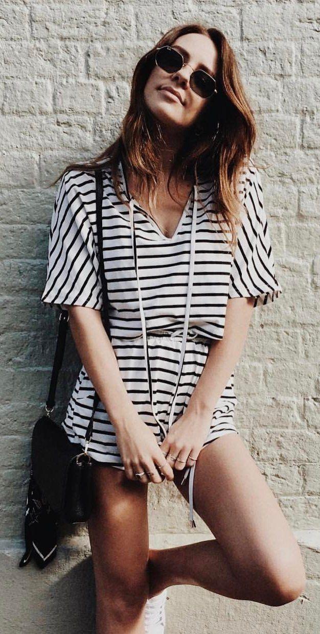 #spring #outfits White Quinn Stripe Top + Shorts + Black Shoulder Bag