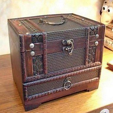 impresión de madera retro caja de cosméticos espejo – USD $ 49.99