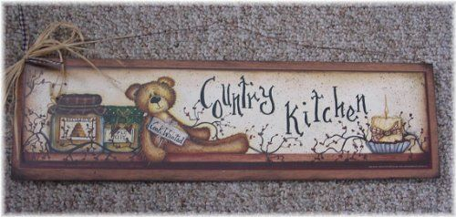 Cook Wanted Country Kitchen Teddy Bear Wooden Wall Art Sign Candles Berries Jars By The Little Store Of Home Decor Wall Art Sign Bear Decor Kitchen Art Prints