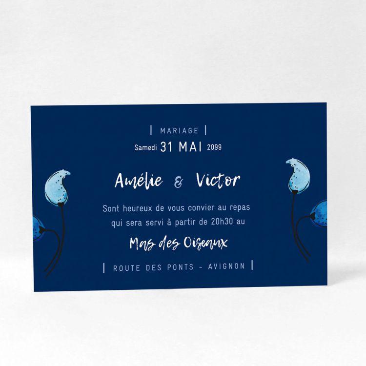 Carte D Invitation Fleur Bleue En 2019 Faire Part Mariage Design
