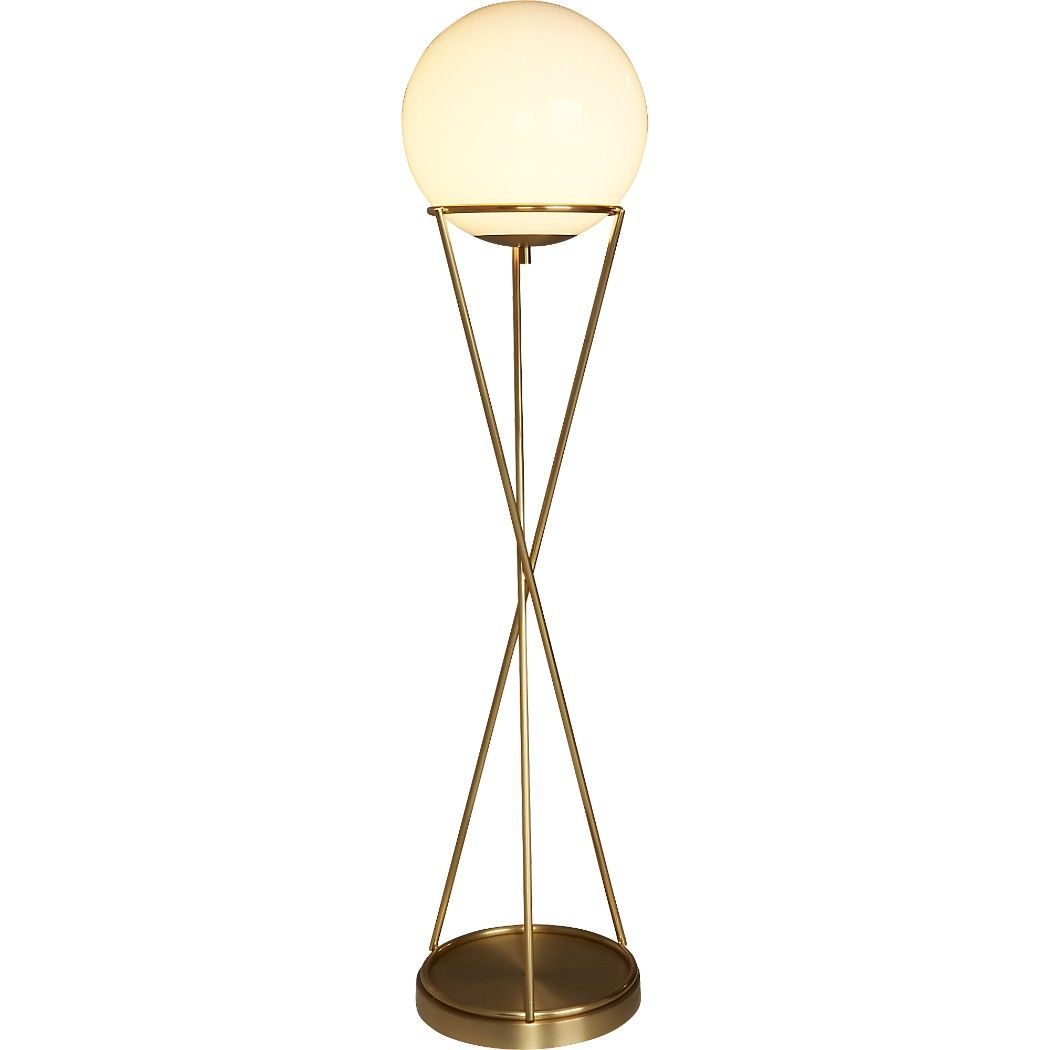 Shop Solis Globe Floor Lamp White Globe Shade Hovers Atop A Minimalist Brass Base That Rises In Hourglass Form Modern Floor Lamps Globe Floor Lamp Floor Lamp