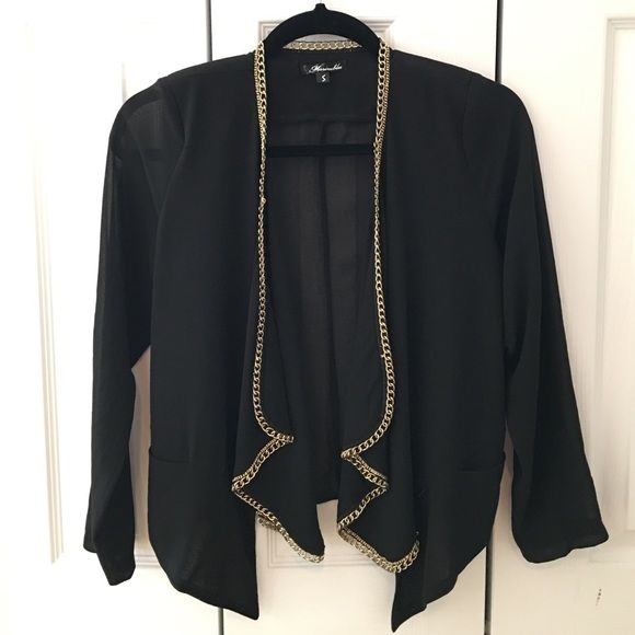 Sheer black blazer New without tags. Never worn. Size small. Sheer black blazer with gold embellishments. Jackets & Coats Blazers