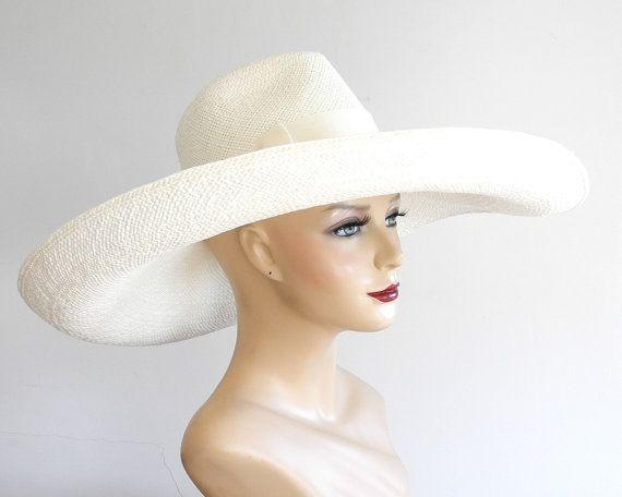 Floppy Wide Brim Panama Fedora Hat- Womens Sun Hat- Straw Hat- Bridal Hat-White  Straw Hat- Spring Fashion- Derby Hat- Floppy Hat-Women 998274f6dc7d