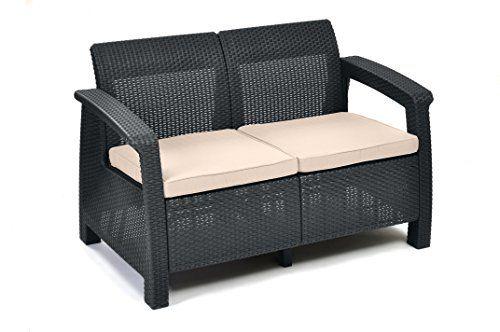 Graphite with Cream Keter Corfu 2 Seater Rattan Sofa Outdoor Garden Furniture