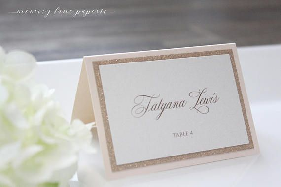 Rose Gold Place Card Glitter And Blush