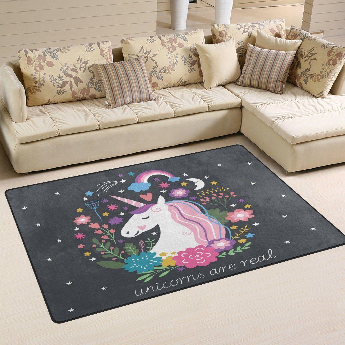 Unicorn Einhorn Teppich Schwarz Einhorn Teppich