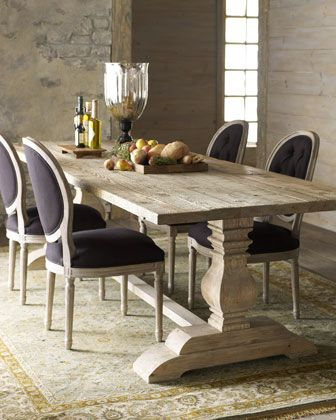 Natural Dining Table Black Linen Chairs at Horchow I like the