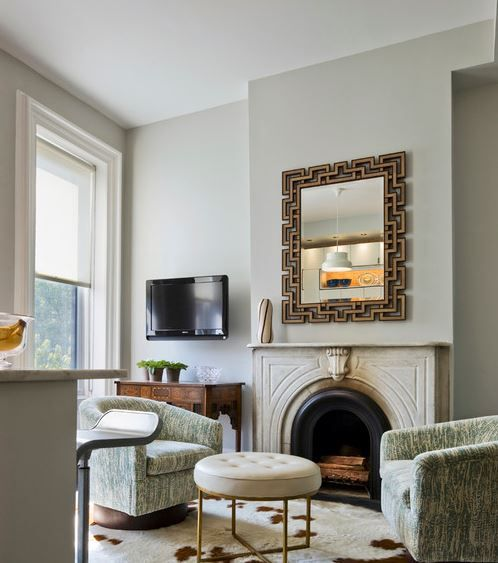 learn more    Benjamin Moore, Wickham Gray HC-171      * Lightness Scale for Interior: 4     * Lightness Scale for Exterior: 2     * Undertone: Moss Green     * Exposure: North facing can bring out green tones     * Heat: Cool Contemporary Living Room by Brooklyn Architects & Buildin