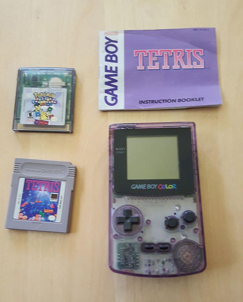 Pokemon games for gameboy color - Working Nintendo Gameboy Color Atomic Purple System Cgb 001 Pokemon Tetris Game Nintendo