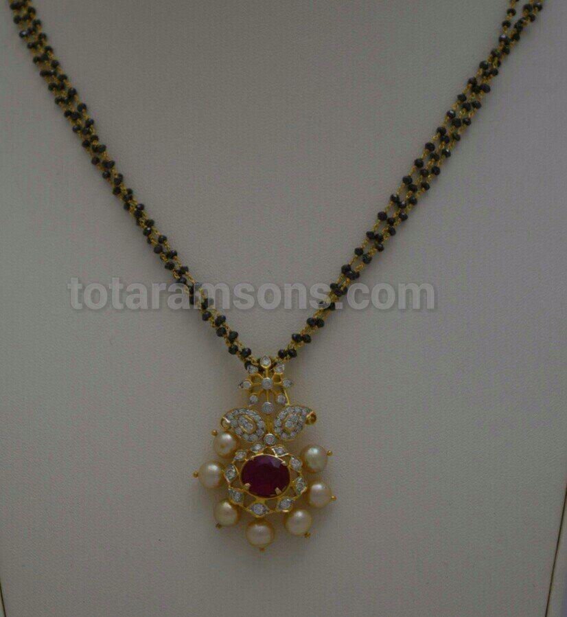 Black beads with diamonds pendant   Black beads / Mangalsutra ...