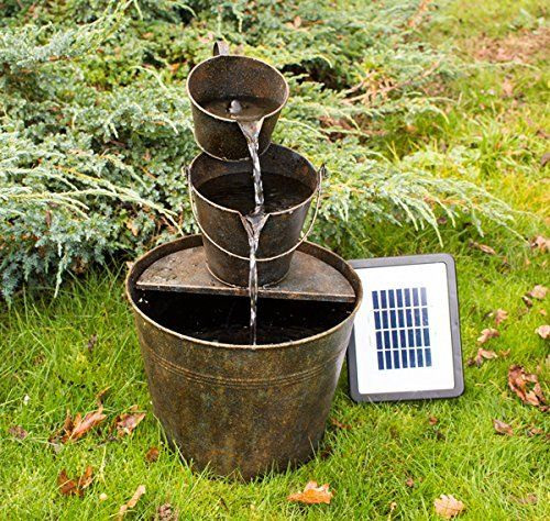 Traditional Solar Powered Water Feature Rust Effect Design Ideal For Creating A Rustic Look Solar Fountain Diy Solar Fountain Water Features