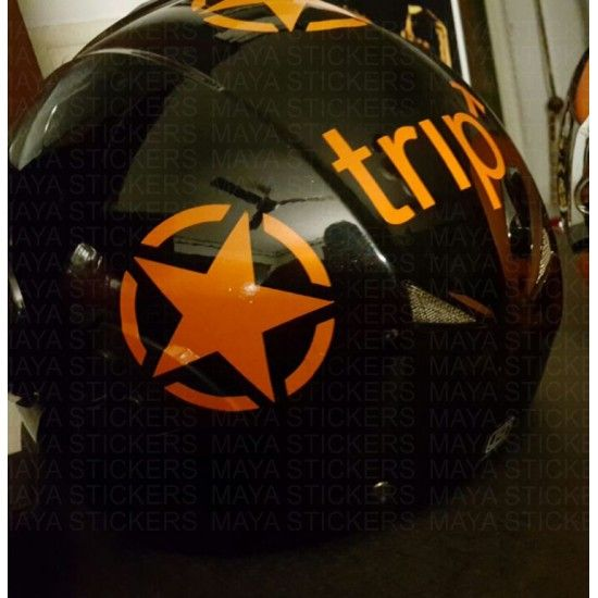 Orange Star Sticker On Black Helmet Helmet Stickers Pinterest - Pink motorcycle helmet decalscustom vinyl decals part