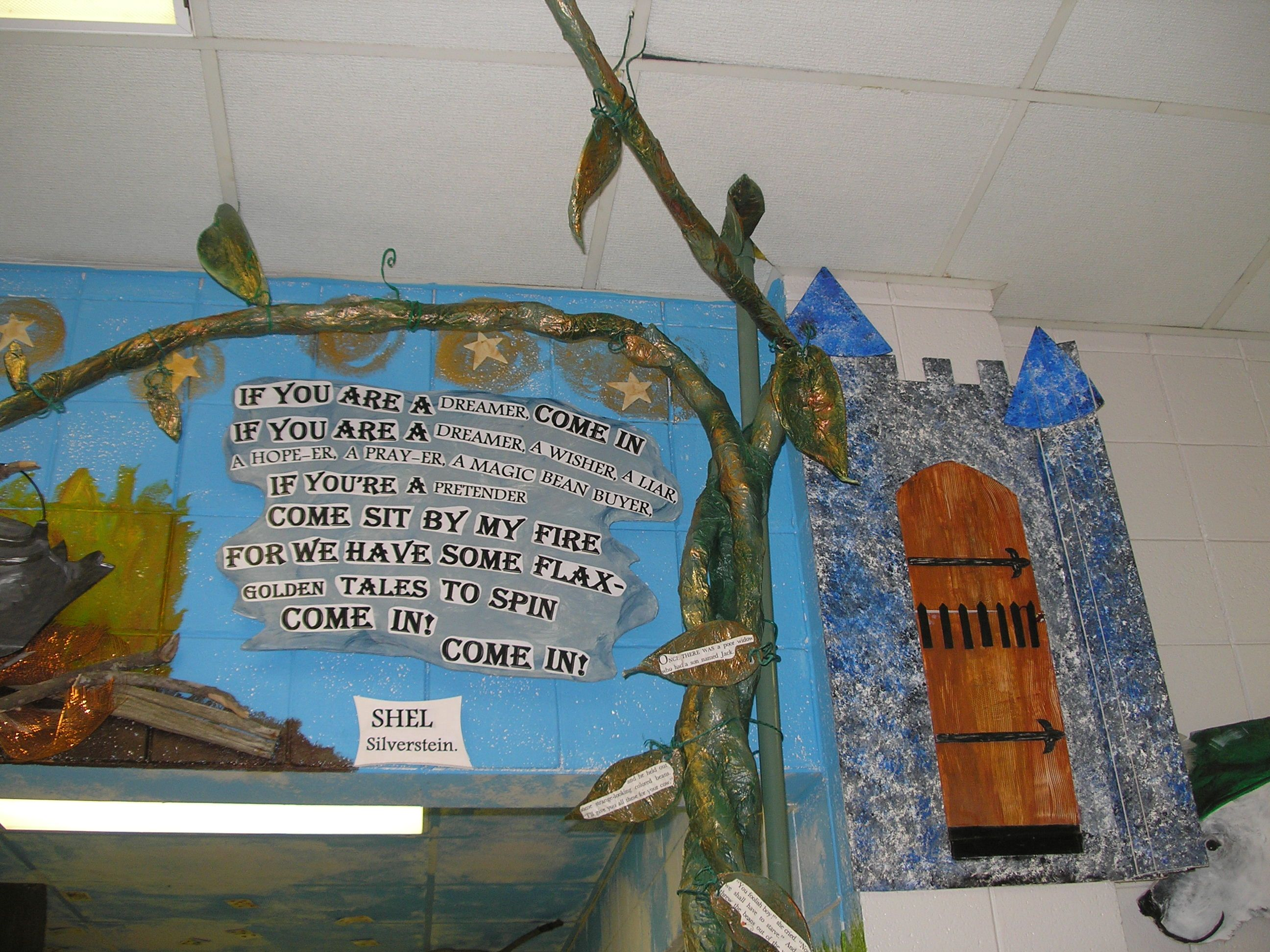 My 10 foot magical paper mache Beanstalk. The leaves have parts of ...