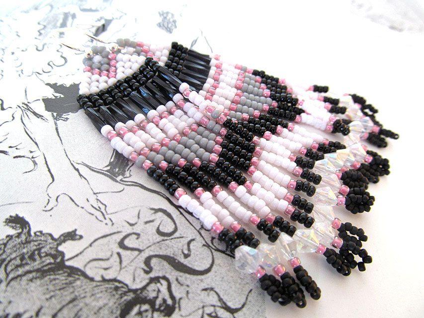 Hand Beaded Earrings, American Indian Style Earrings, Pink and BlackEarrings, Long  Dangles, Paris Earrings by moonlilydesigns on Etsy