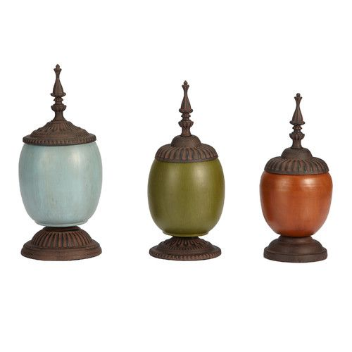Bombay Heritage 3 Piece Patch Decorative Urn Set Decorative Urns Vase Set Joss And Main