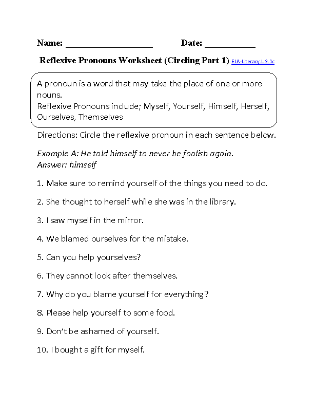 Circling and Writing Reflexive Pronouns Worksheet Part 1 Beginner