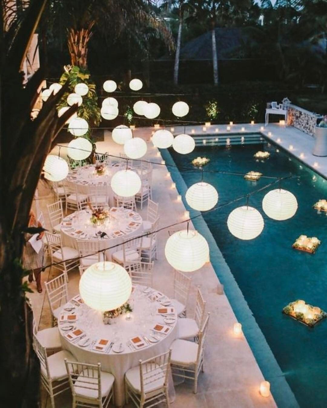 Ideas For Outdoor Wedding Reception Tables: Dinner, Hanging Lights, Pool