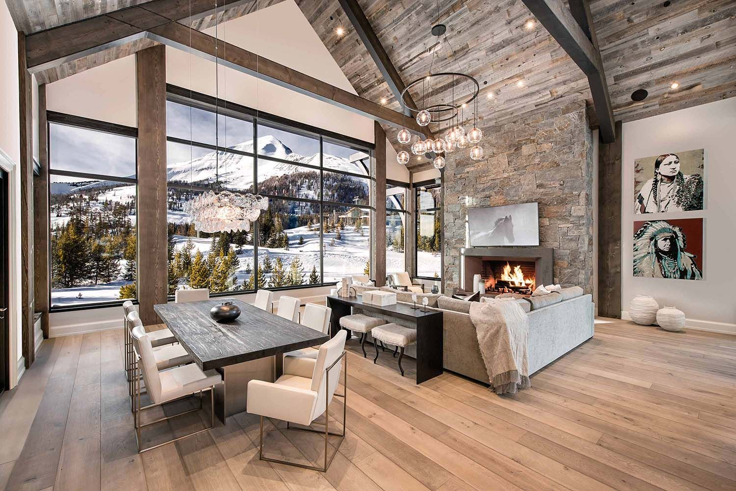 Breathtaking Mountain Modern Home In Montana With Inviting Details Modern Rustic Living Room Mountain Home Interiors Mountain Modern Home