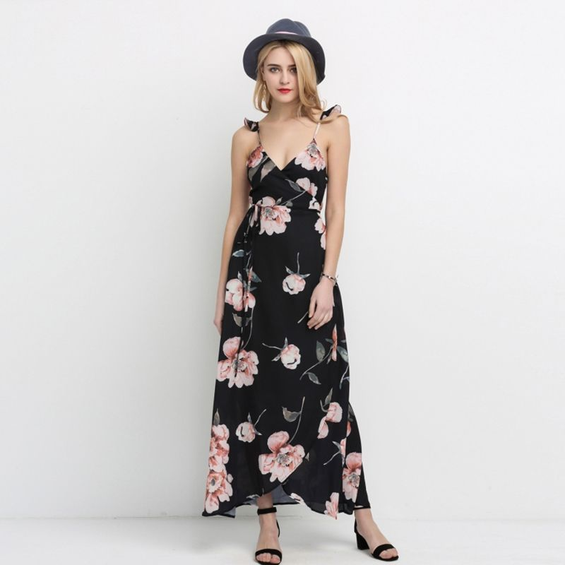 8cf128e1627 HDY Haoduoyi Fashion Floral Print Dress Women Backless Split Maxi Dress  Deep V-neck Sexy Party Dress Casual Bohemian Dresses