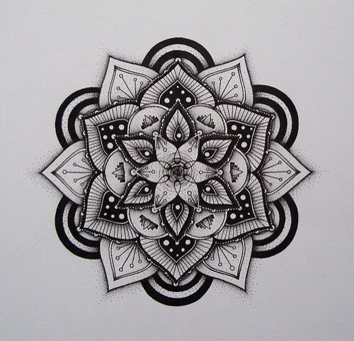 Mandala Pattern Black White Color Tattoos Tattoo Designs