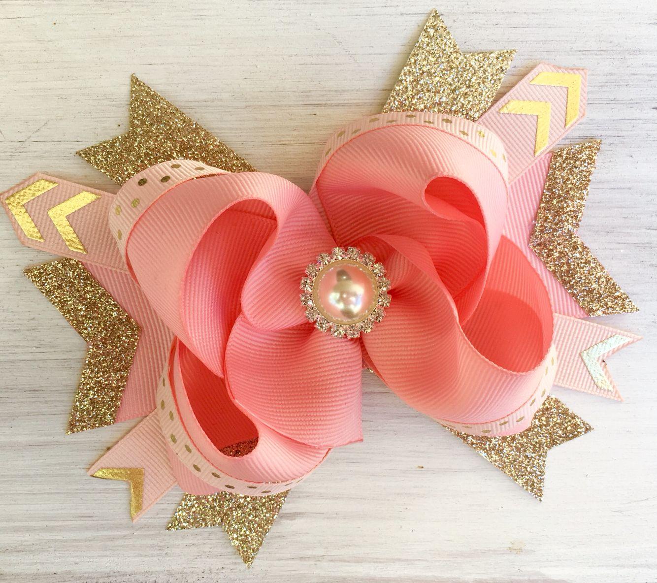 Rose Gold Boutique Bow Etsyshop Modernme Couturebows Boutique Hair Bows Boutique Bows Girl Hair Bows