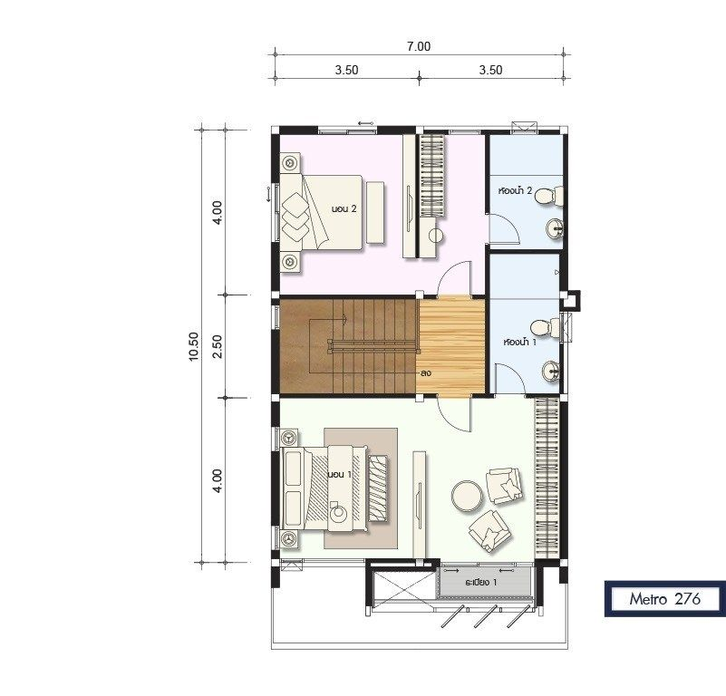 House Design Plan 7x10 5m With 4 Bedrooms Home Design Plans Duplex House Design Home Design Plan