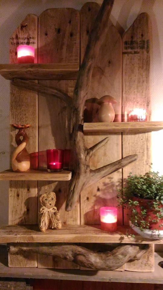 tag re murale en palette et bois flott meubles et. Black Bedroom Furniture Sets. Home Design Ideas