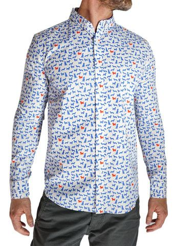Oxford Lads Cats and Dogs Long Sleeve Button Down