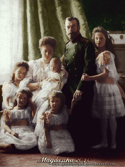 The Russian Imperial Family - tsar Nicholas II, tsarina Alexandra Feodorovna, and their children - Grand Duchesses Tatiana, Maria, Anastasia and Olga and the tsarevich, Alexei Nikolaevich, in 1904, the year when Alexei was born.