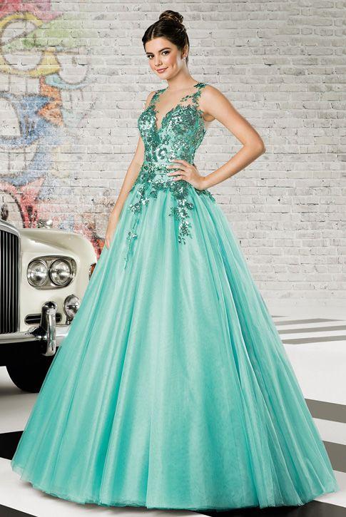1b2b1c9e0527 Vestido de debutante London Street 53 Verde Tiffany ou Azul / Vestido de 15  anos rodado com decote bateau; Topo do vestido (frente e costas) com ...