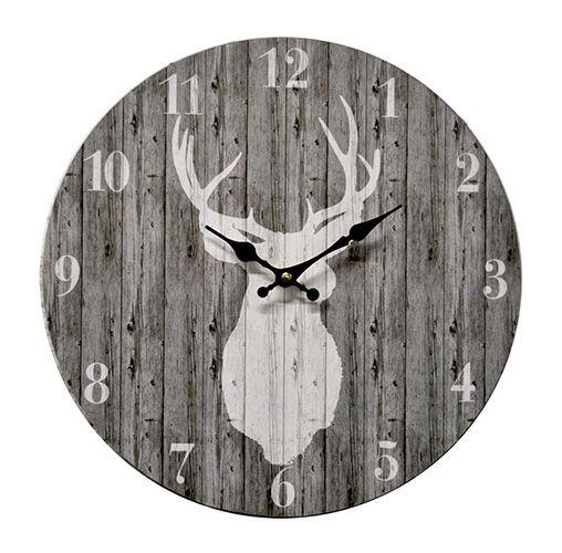 horloge en bois cerf code bmr 057 5434 pinteres. Black Bedroom Furniture Sets. Home Design Ideas