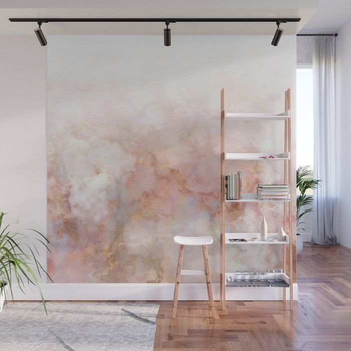 Beautiful Pink and Gold Ombre marble under snow Wall Mural by dominiquevari