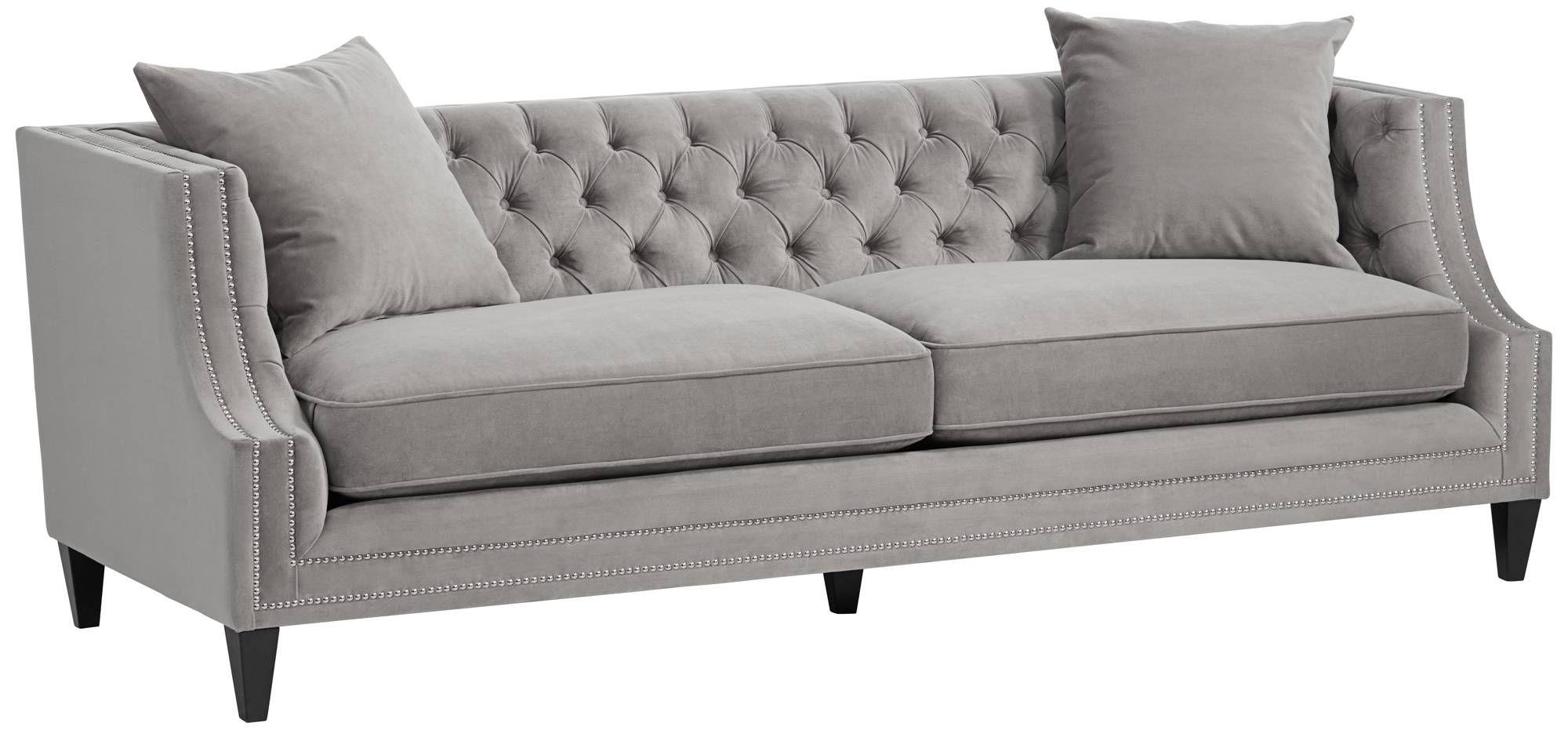 Marilyn Gray Velvet Tufted Upholstered Sofa   #14K43 | Lamps Plus
