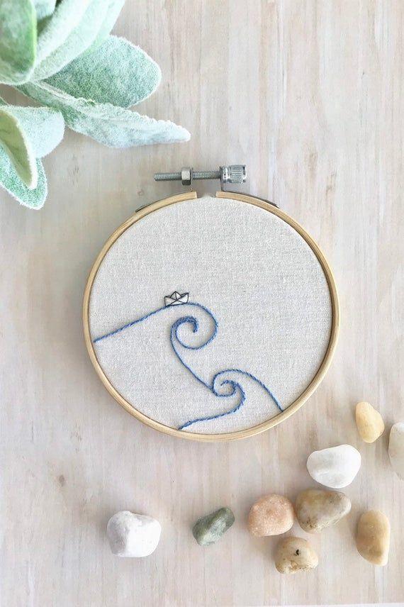 Ocean Embroidery Hoop Wall Art, Modern Embroidery, Beach Decor, Origami Boat, Minimalist Art, Housewarming Gift