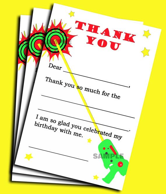 Laser Tag Thank You Note Printable  Instant Download  Laser Tag