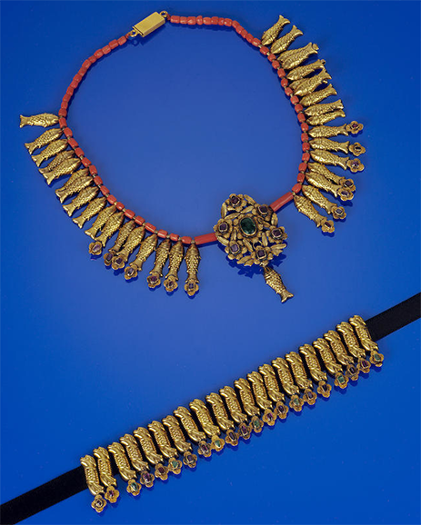 An Armenian gem-set gold choker from the Ottoman period, made in eastern Turkey. Note the exquisite tiny fish which are a hallmark of the Armenian versions of these necklaces. 19th century