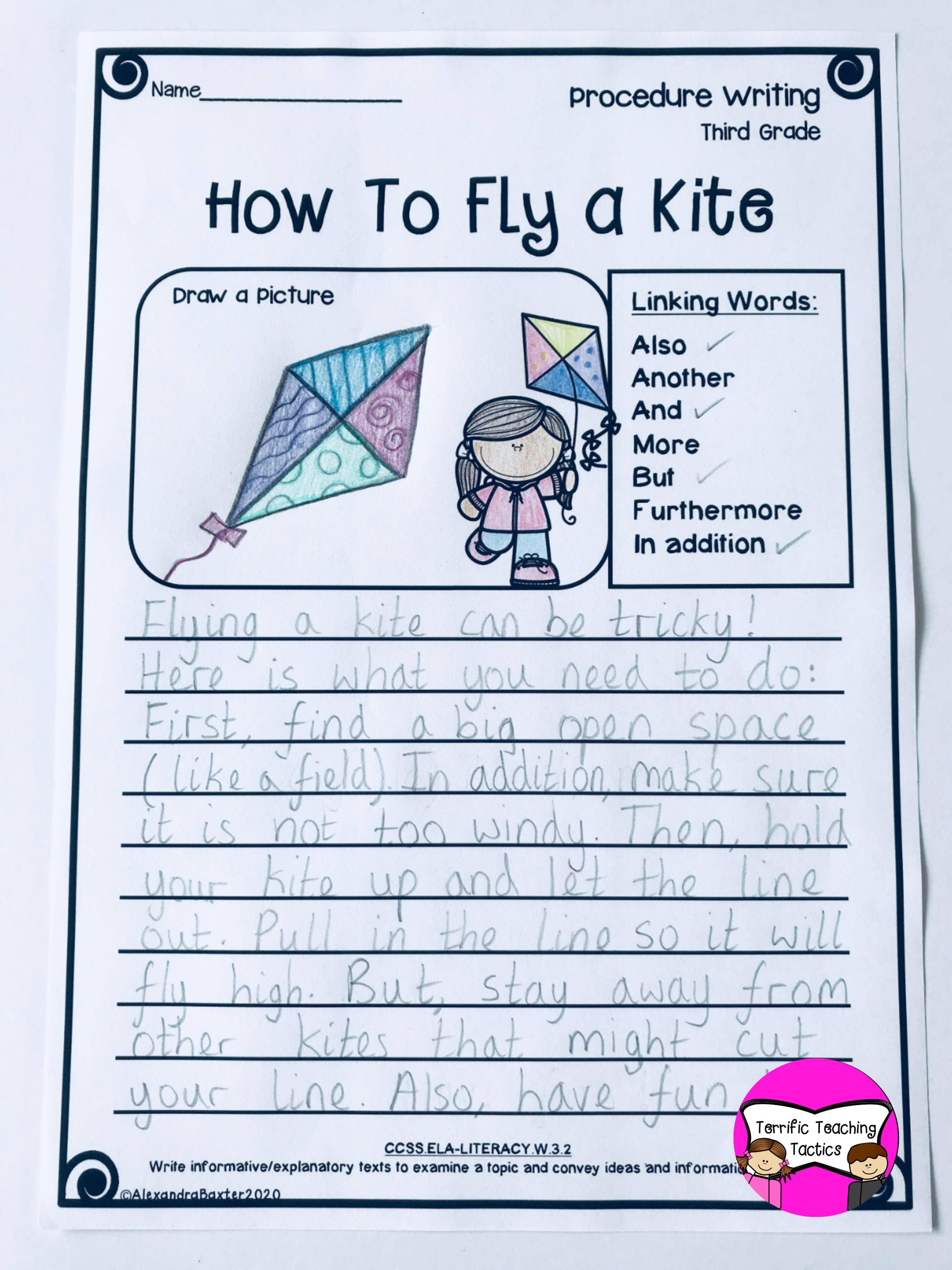 Third Grade Procedure Writing Prompts Worksheets In